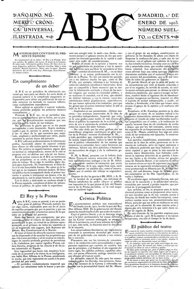 ABC MADRID 01-01-1903 página 1