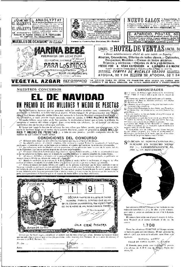 Periódico ABC MADRID 15 12 1903,portada Archivo ABC