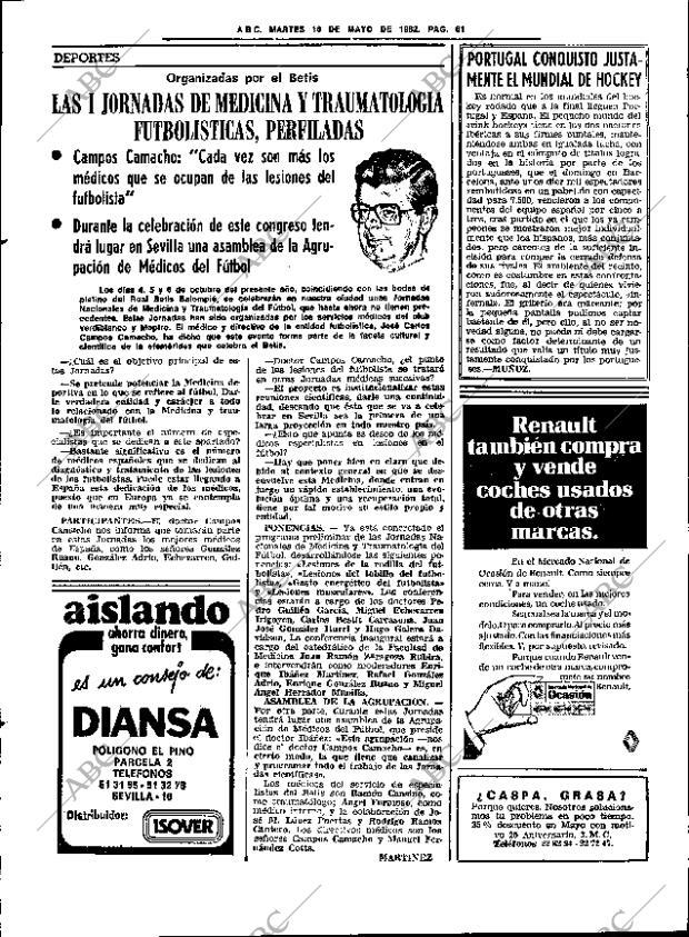 Periódico ABC SEVILLA 18 05 1982,portada Archivo ABC