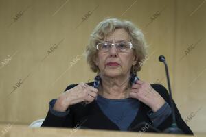 Rueda de prensa de la alcaldesa de Madrid Manuela Carmena, en relación con la...