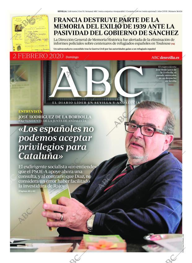 Periódico Abc Sevilla 02 02 2020 Portada Archivo Abc