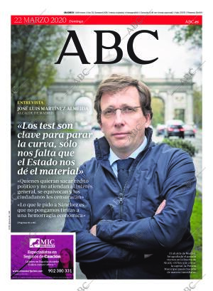 ABC MADRID 22-03-2020 página 1