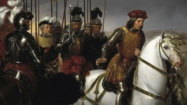 El Gran Capitán observa el cadáver del Duque de Nemours con sus oficiales a la espalda