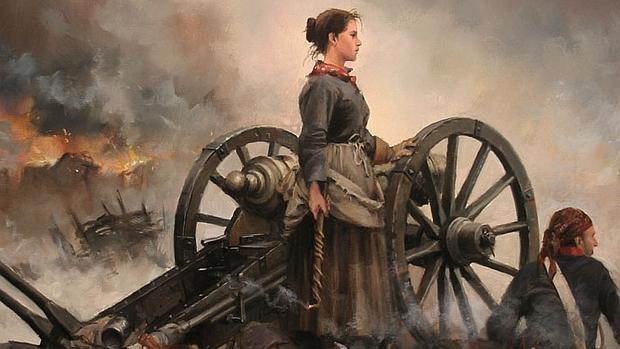 Pintura de Agustina de Aragó junto a una batería de artillería