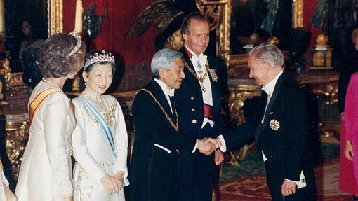 El emperador Akihito, en una recepción en Zarzuela en 1994