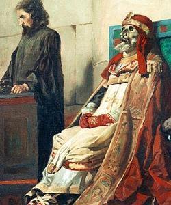 Detalle de la momia del Papa Formoso y el diácono que le defendió