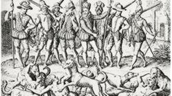 Balboa arroja varios perros sobre los indígenas