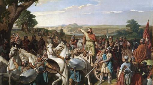 El Rey Don Rodrigo arengando a sus tropas en la batalla de Guadalete