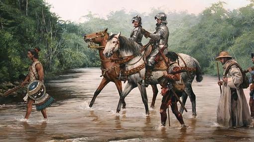 El conquistador, a caballo, en el centro de la expedición pintada magistralmente