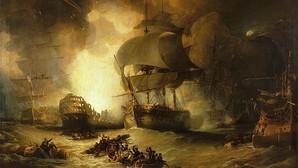 El buque insígnia francés explota durante la batalla