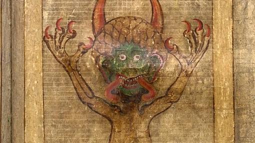 Imagen del demonio en una de las páginas del «Codex Gigas»