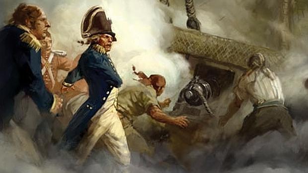 Nelson, combatiendo en Trafalgar
