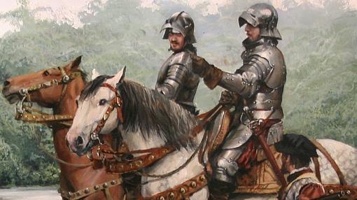 El conquistador, a caballo, en el centro de la expedición pintada por Ferrer-Dalmau