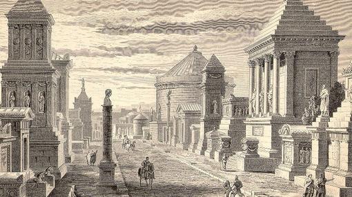 Reconstrucción de la vií Appia, en la Antigua Roma