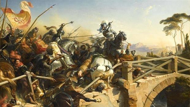 Pierre Terraill de Bayardo, uno de los participantes en el duelo, defiende el puente en la batalla de Garellano