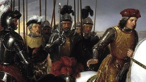 El Gran Capitán y sus oficiales más cercanos en la batalla de Ceriñola