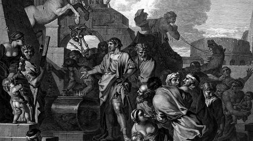 Augusto visita la tumba de Alejandro (Sebastien Bourdon, 1643 - Museo del Louvre)
