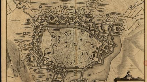 Situación de la ciudad fortificada de Mons, en 1572