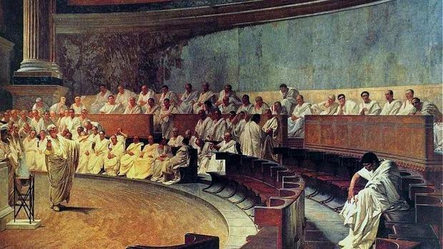 El famoso cuadro de Cesare Maccari, representa el momento en que Cicerón acusa a Catilina de traición ante el Senado aa