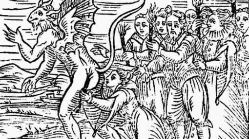 Representación de una bruja junto a un demonio