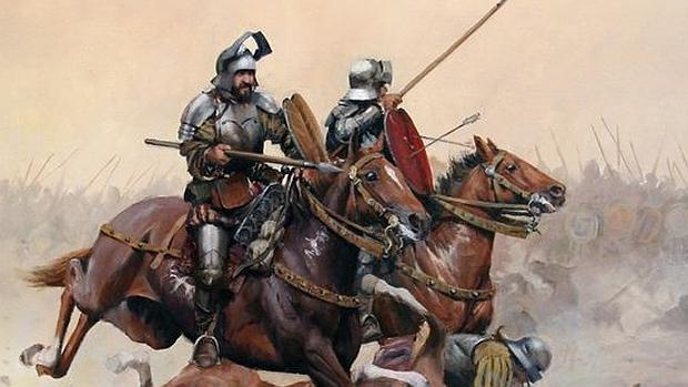Una de las ilustraciones incluidas en «Los Invencibles de América» sobre la batalla de Otumba