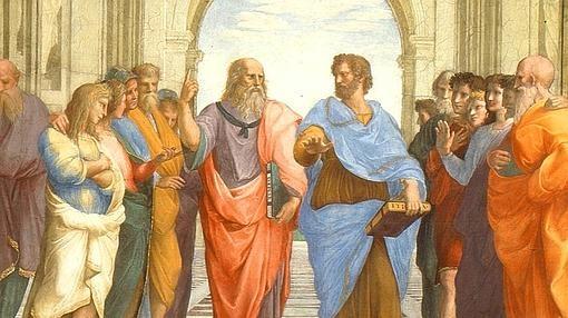 Detalle de La escuela de Atenas, 1509, con Platón y Aristóteles en el centro