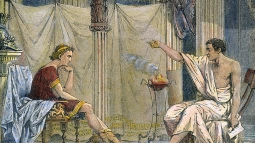 Ilustración de Alejandro Magno y Aristóteles.
