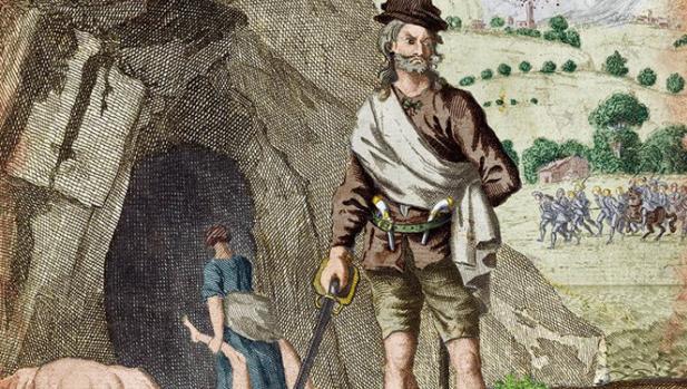 Sawney Beane a la entrada de la cueva que servía de guarida.