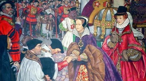 Ilustración de la Reina María Tudor con su pueblo. Carranza acompañó a Felipe II a Inglaterra