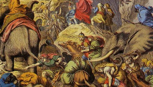 Aníbal y sus hombres cruzan los Alpes