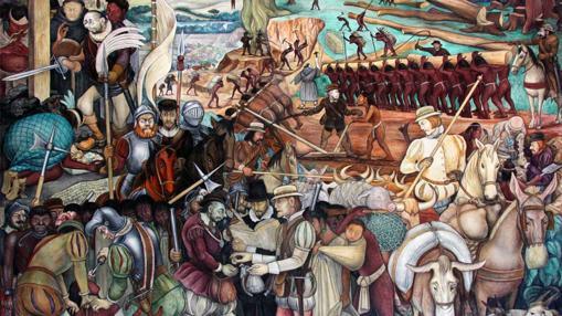 Fragmento del mural donde Diego Rivera muestra el desembarco de Cortés en Veracruz