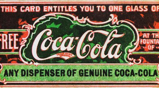 Se cree que es el primer cupón de Coca-Cola, en 1888, para ayudar a promover la bebida