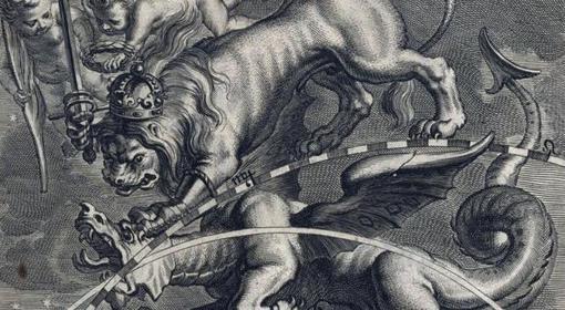 Alegoría de la conquista de Portugal (un dragón) por el León Hispano
