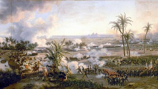 Pintura que recrea la batalla