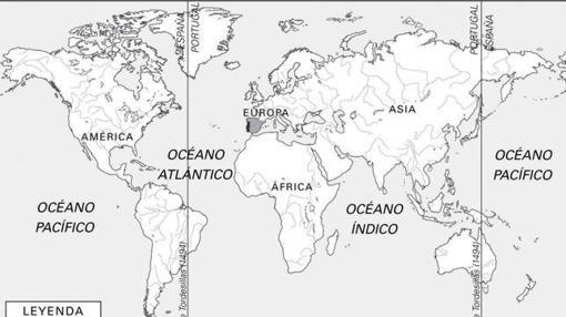 Reparto del mundo entre españoles y portugueses en Tordesillas