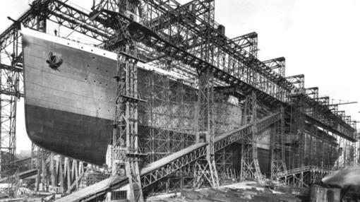 El Britannic, en los astilleros- WIKIPEDIA