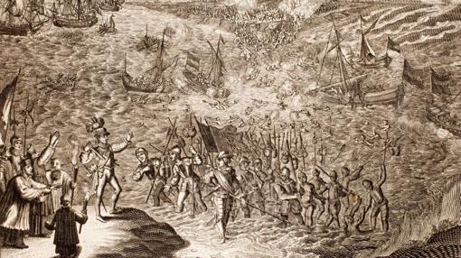Las tropas españolas dirigidas por Mondragón cruzando Zijpe, un municipio neerlandés