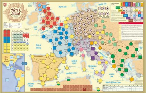Mapa del juego «Here I Stand» sin desplegar las fichas y marcadores
