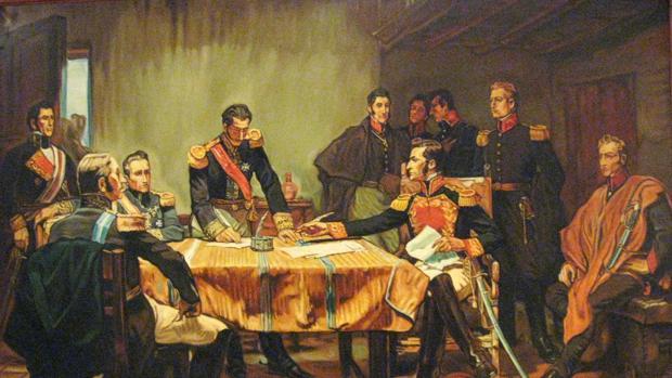 Capitulación de Ayacucho, óleo del pintor peruano Daniel Hernández.