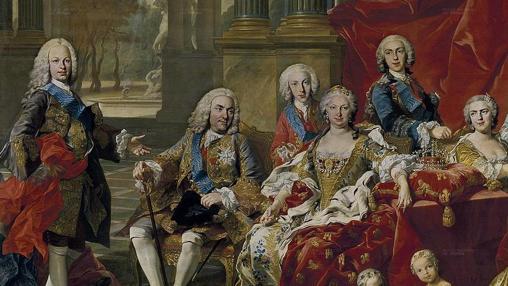 La familia de Felipe V de Van Loo (1743), en el que aparece de pie el Príncipe de Asturias Fernando, junto a su padre el Rey Felipe V y a su madrastra