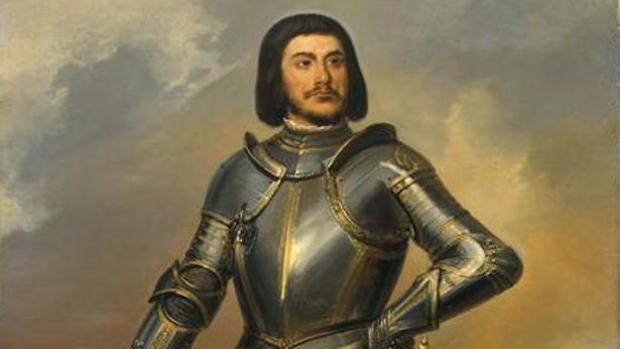 Retrato imaginario de Gilles de Rais con una tupida barba negra