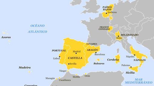 Dominios europeos y norteafricanos de Felipe II hacia 1580.