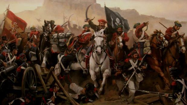 Carga carlista. Sus tropas portan la bandera de Cabrera, muy similar a la pirata