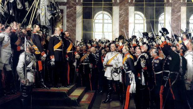 Guillermo I de Prusia proclama el Imperio alemán en el Palacio de Versalles, 1877.