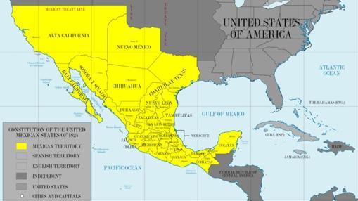 Mapa de México en 1824, con los territorios mexicanos en amarillo