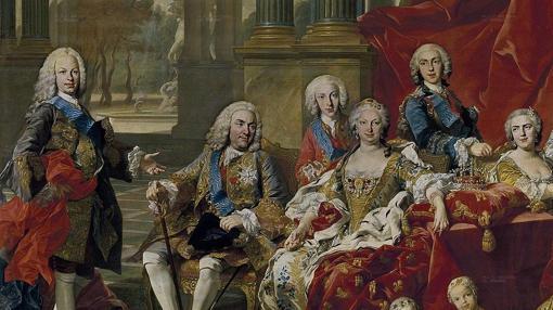 Detalle del cuadro La familia de Felipe V de Van Loo (1743),