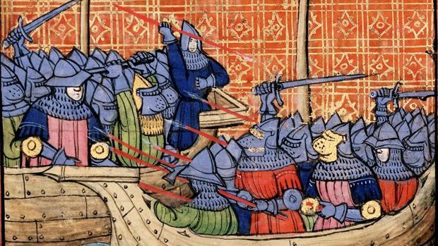 Detalle de una miniatura medieval del combate en La Rochelle