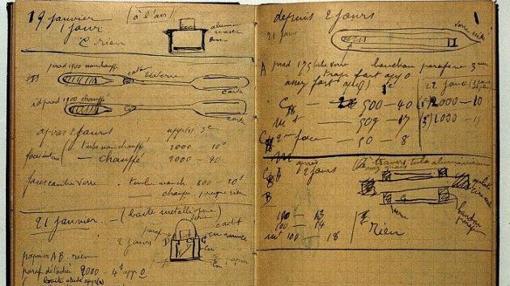 Uno de los cuadernos con notas científicas de Marie Curie