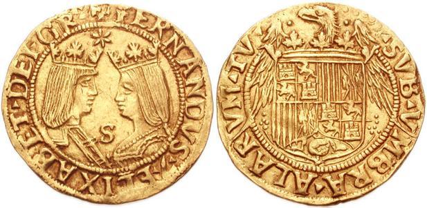 Escudo de los Reyes Católicos en un excelente de oro acuñado en Sevilla entre 1497 y 1504.