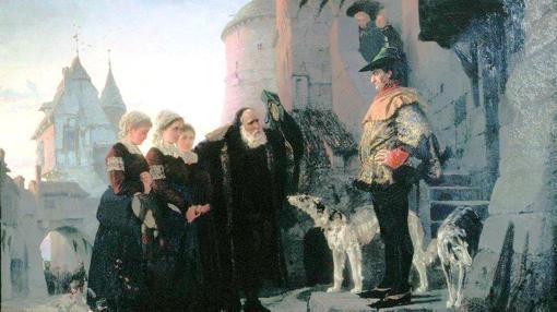 Un cuadro historicista que recrea la escena de un anciano entregando sus jóvenes hijas al señor